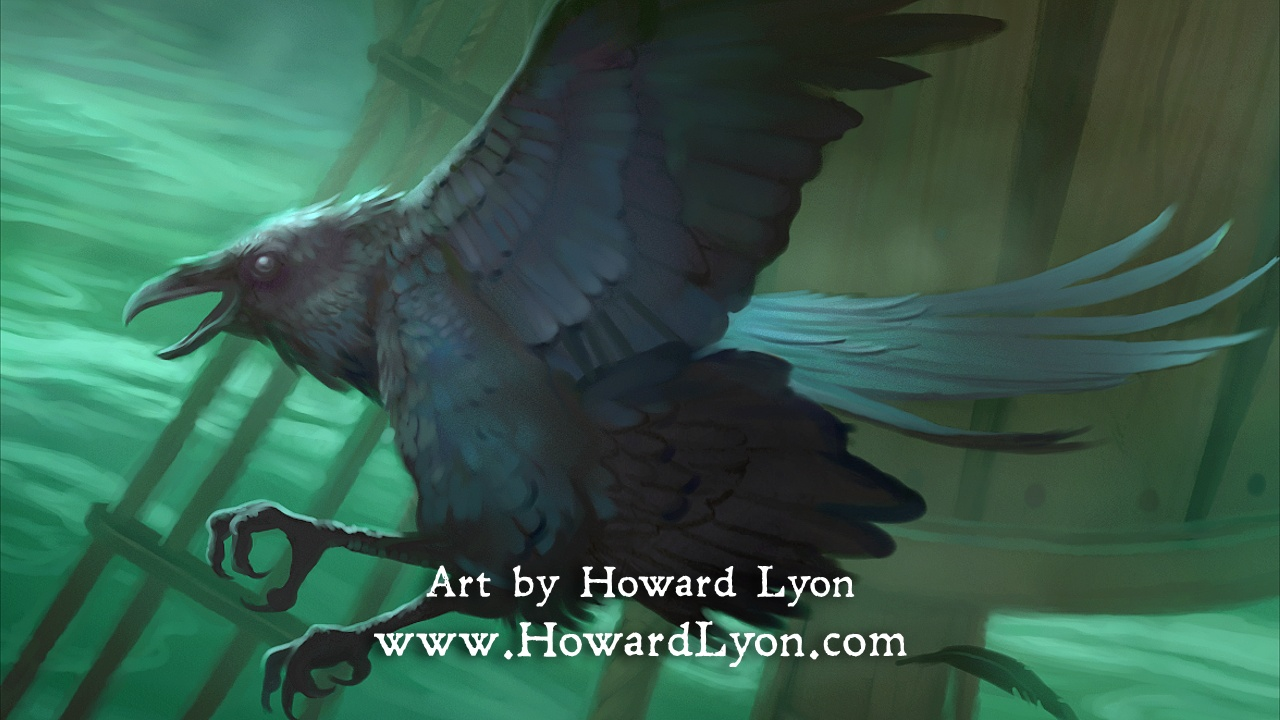 A raven illustrated by Howard Lyon.